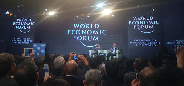 Shinzo Abe Klaus Schwab in WEF Japan MTG 2014